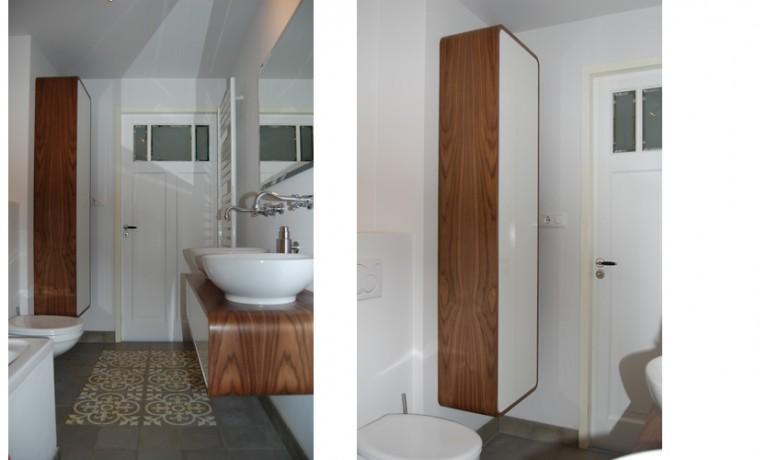 Badkamer HPL wit hoogglans met Noten