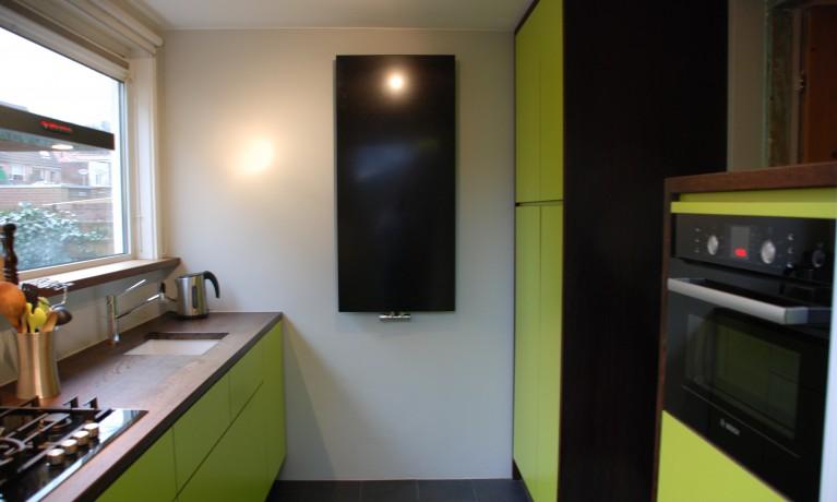Keuken HPL groen met wengé