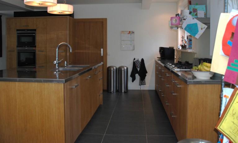 Keuken eiken met RVS blad
