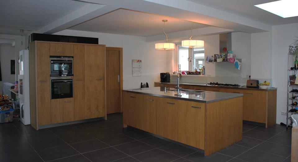 Keuken eiken met RVS blad Keuken